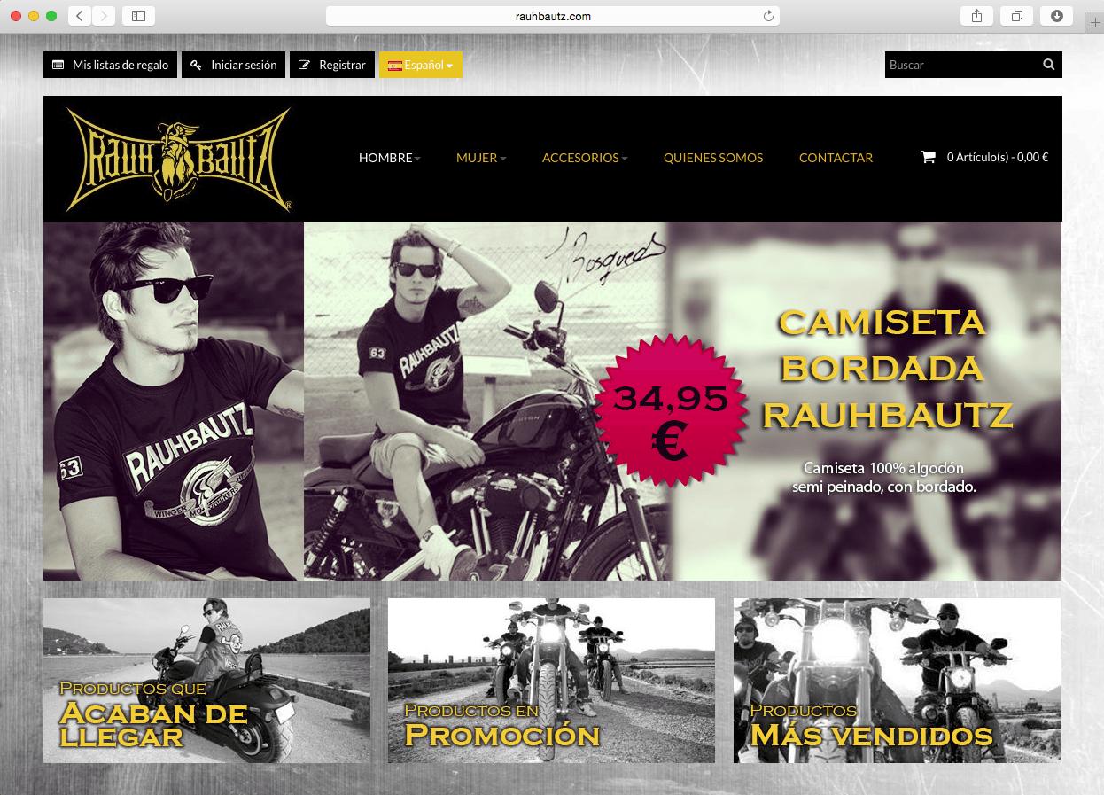 Página web  Tienda on-line Ropa motera Rauhbauz - CREACTITUD f93ca702691