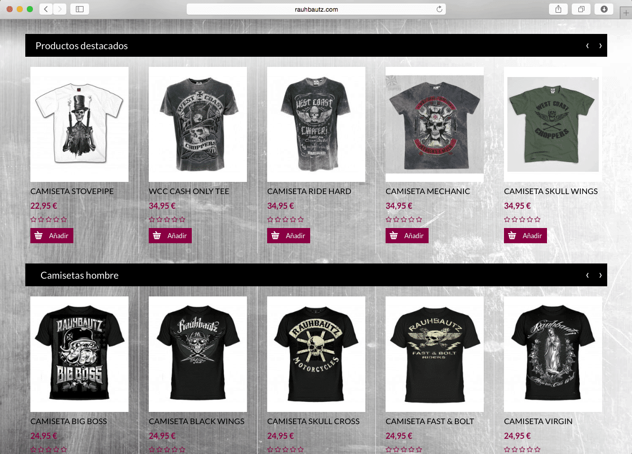 8ba62297f Página web  Tienda on-line Ropa motera Rauhbauz - CREACTITUD